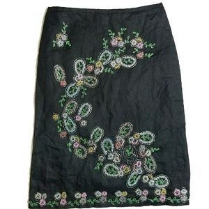 French Connection Black Beaded Floral Skirt